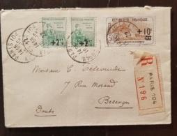 FRANCE Yvert N°167+163 X 2 Orphelins Sur Lettre Recommandée Paris 16/10/1922 Pour Besançon - 1921-1960: Modern Period