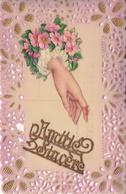 Thematiques Vœux Cp Plastifié Amitié Sincere Superbe Carte Neuve Rare - Embroidered