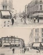 2 CPA:VILLEFRANCHE SUR SAONE (69) CAFÉ DU TONNEAU RUE NATIONALE,HÔTEL DE LA COLONNE RUE DE THISY - Villefranche-sur-Saone
