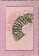 Rare Pochette Cartonnée Début 1900 / Cadeau Baptême / Communion / Eventail / Mouchoir Dentelle De Luxeuil 70 - Naissance & Baptême