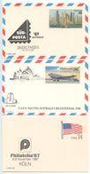 United States 1987-88 3 Mint Postal Cards W/ International Philatelic Exhibition Cachets - Entiers Postaux