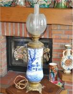 Superbe Lampe Ancienne Faience Signée E.Lombart - Luminaires