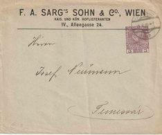 """OOSTENRIJK : Ganzsache - Entier : PRIVAT AUFDRUCK Umschlag Michel (n) 3 H  """"WIEN 16.V.09""""  """"SARG'S SOHN & C°/ WIEN"""" - Entiers Postaux"""