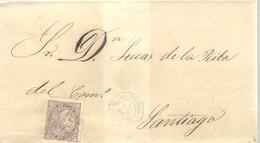 CARTA 1869 PUEBLA DE TRIBES  A SANTIAGO - Lettres & Documents