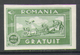 1736 Defins Post Mail History Horses 1933 Romania 1v Set MNH ** 8ME Imperf Imp - Post