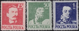 Polen     .  Yvert  .   427/429    .    (*)    .   Kein  Gummi      .   /  .   No Gum - 1944-.... Republic