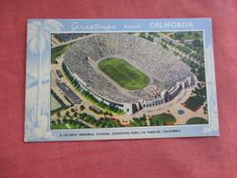 Olympic Memorial Stadium  Greetings Los Angles Ca.   Ref 3108 - Postcards
