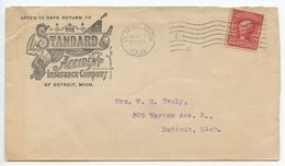 United States 1904 Advert Cover Detroit Michigan, The Standard Accident Insurance Co - Brieven En Documenten