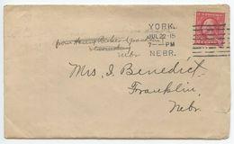 United States 1915 Cover York Nebraska To Franklin NE, Columbia Machine Cancel - Brieven En Documenten