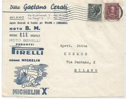 Mezza Marca IGE L.20 + Turrita L.5 Fronte Busta Milano 11ago1957 X Città - Michelin Benelli Moto NSU Pirelli - 6. 1946-.. Repubblica