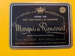 9287 - Vin Mousseux Marquis De Riencourt Chardonnay Vintage 1976 - Etiquettes