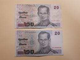 2 Billets De 20 Bath Thailandais TTB - Tailandia