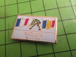 SP02 Pin's Pins /  Rare & De Belle Qualité : THEME SPORTS / RUGBY COUPE DU MONDE 91 FRANCE ROUMANIE BEZIERS - Rugby