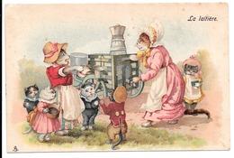 La Laitière . - Famille De Chats Habillés Près De La Laitière. - Animaux Habillés