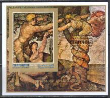 2950 ✅ Art Painting Michelangelo 1971 Manama S/s MNH ** 8ME Imperf Imp - Religión