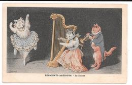 Les Chats Artistes . - La Danse . - Avec Harpe Et Trompette. - Espinasse Illustrateur. - Animaux Habillés