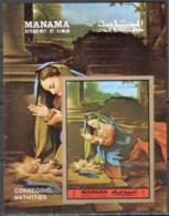 2955✅  Art Painting Correggio Madonna 1972 Manama S/s MNH ** 8,5ME Imperf Imp - Madonnas