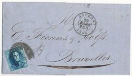 1858 BRIEF VAN ANVERS P4 NAAR BRUXELLES MET COB 6 ZIE SCAN(S) - 1851-1857 Médaillons (6/8)