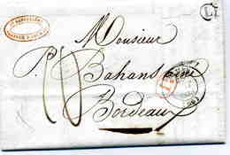 """Ht RHIN : """" COLMAR """" CàD Type 14 + TM 10 + Id Rge / LAC De 1838 + BR L = Alspack  Pour Bordeaux - Marcophilie (Lettres)"""