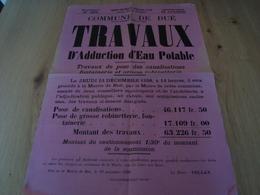 AFFICHE ADJUDICATION PUBLIQUE COMMUNE DE BUE CHER EAU POTABLE 1928 - Affiches