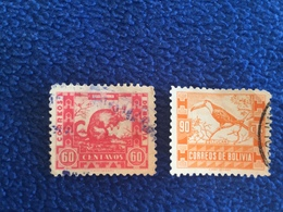 Bolivia:Set Of Two Stamps 1939,  Scott #s 261 & 263 Canceled & Hinged - Bolivie