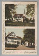 "AK CH ZG Neuheim Foto Gasthaus Falken, Kirche 1911-09-02  Weber #382 ""Bug"" - ZG Zoug"
