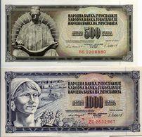 1981  JUGOSLAVIA  2   BANCONOTE  500 + 1000  DINARA - Jugoslavia