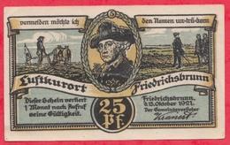 Allemagne 1 Notgeld De 25 Pfenning Stadt Friedrichsbrunn UNC  N °2350 - [ 3] 1918-1933 : République De Weimar