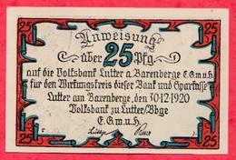 Allemagne 1 Notgeld De 25 Pfenning Stadt Barenberge UNC  N °2356 - [ 3] 1918-1933 : République De Weimar