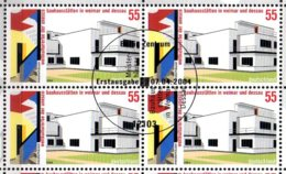 2004 Germany - UNESCO World Heritage Of Bauhaus Weimar And Dessau -Block Of 4 Canceled Fd MiNr. 2394 Hauses - Zonder Classificatie