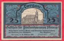 Allemagne 1 Notgeld De 25 Pfenning Stadt Torgau UNC  N °2367 - [ 3] 1918-1933 : République De Weimar