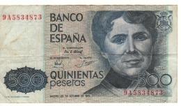 SPAIN  500 Pesetas  P157  23/10/1979 - [ 4] 1975-… : Juan Carlos I