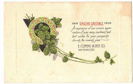 FANTAISIE FÊTES NOUVEL AN : Seasons Greetings 1919 1920 E CLEMENTS HORST CO SAN FRANCISCO CALIFORNIA - Nouvel An