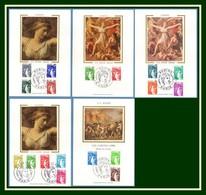 Carte Maximum Silk Soie N° 1962 à 1979 Complet Sabine 1977 78 ( Cote + 33 Euros > à Profiter !) - Cartes-Maximum