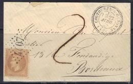 Couthures Sur Garonne (45) : GC 4407, Càd 24 Sur Enveloppe, Lauré N°28, 1870. - Marcophilie (Lettres)