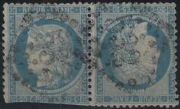 France 1870 Siège De Paris Tete Beche N°37, 20c Bleu Obl GC 532 De Bordeaux RR 2e Choix Signé Calves - 1870 Siège De Paris