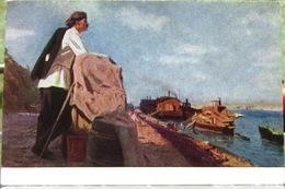 Russian Soviet Writer Maxim Gorky On The Volga Artist Tsyplakov 1953 USSR Postcard - Writers