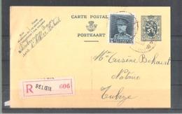 EP Carte Lion Hieraldique 50c + Roi Casqué 1,75fr En Recommandé Beloeil - - Entiers Postaux