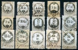 AUSTRIA 1866-68 - 15 Revenue Stamps 2-75Kr (all VF) - Steuermarken