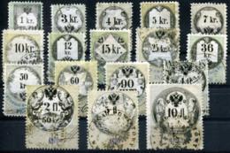 AUSTRIA 1870 - 17 Revenue Stamps 1Kr-10 Fl (all VF) - Steuermarken
