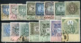 AUSTRIA 1883 - 15 Revenue Stamps 1Kr-5 Fl - Steuermarken