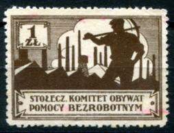 1927 Warsaw Surtax BEZROBOTNYM (unemployment) - 1 ZL (no Gum) Rare - Fiscali