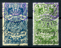 GDANSK (Danzig) 1925 - Two Documentary Revenue Stamps - Fiscaux