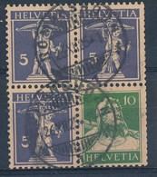 """HELVETIA - Mi Nr S 9 In Combinatie Met W 3 (Viererblock) - Cachet """"ROMANSHORN - (ref. 557) - Se-Tenant"""