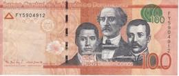 BILLETE DE REP. DOMINICANA DE 100 PESOS ORO DEL AÑO 2016 SERIE FY (BANKNOTE) - Dominicana