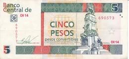 BILLETE DE CUBA DE 5 PESOS CONVERTIBLES DEL AÑO 2013  (BANKNOTE) ANTONIO MACEO - Cuba
