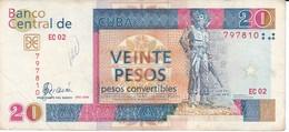BILLETE DE CUBA DE 20 PESOS CONVERTIBLES DEL AÑO 2008  (BANKNOTE) CAMILO CIENFUEGOS - Cuba