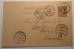 Monaco 1885 Prince Charles III Entier Postal 10c C.p 1886 > Gerzensee, Wichtrach, Bern, Schweiz (Brief Lettre Cover - Ganzsachen