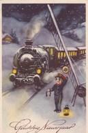 Happy New Year, Gelukkig Nieuwjaar, Bonne Année, Train, In Winter Landscape With Little Boy (pk53650) - Año Nuevo