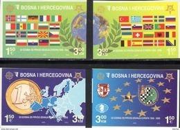 Globus 2006 Bosnia-Hercegovina 419/2B ** 14€ Imperf.50 Jahre EUROPA Karte Ölzweig Flagge Ss Maps Bloc Flag Set CEPT - European Ideas